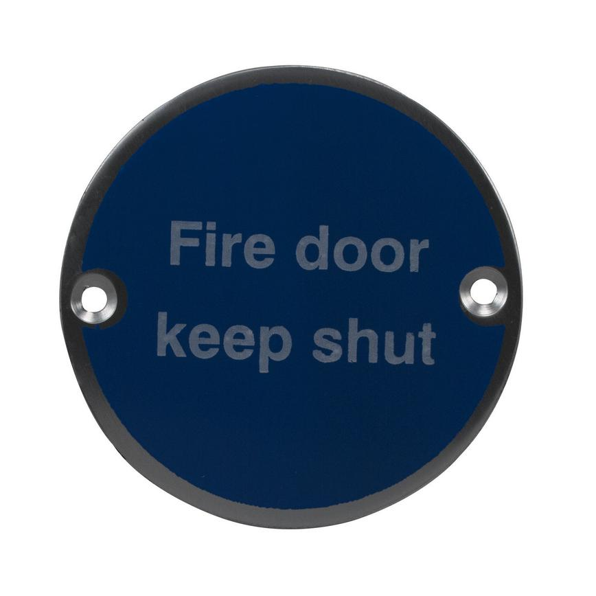 Eclipse Fire Door Keep Shut Symbol Signage 76mm - Satin Anodised Aluminium