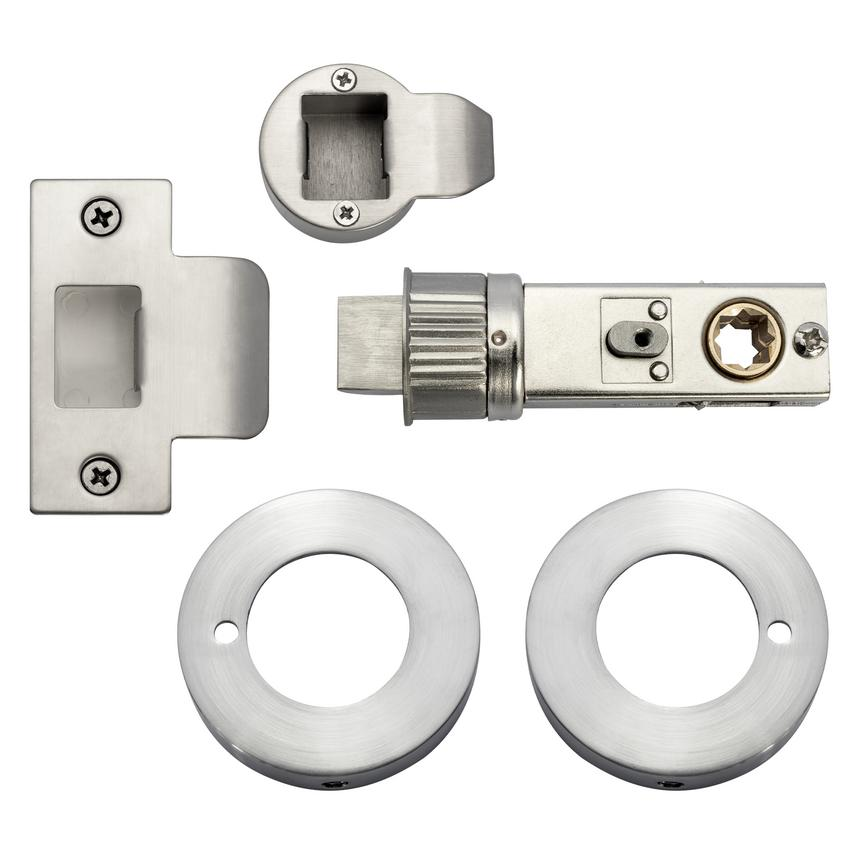 Jigtech Privacy Pack Latch & Escutcheon - Satin Chrome Plate