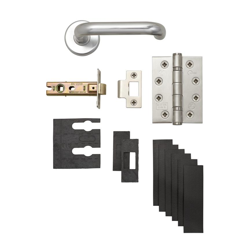 Roundbar Aluminium Fire Rated Rose Handle Latch Pack