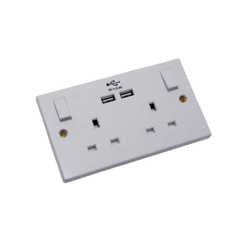 PPSK2USB-BU Pro Power 2 Gang 13A Raised Square Matt White USB Socket