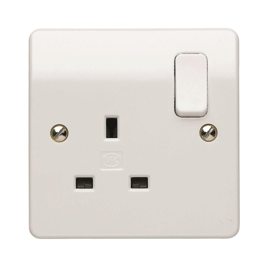 MK Electric 1 Gang 13A Raised Slim Gloss White Plug Socket