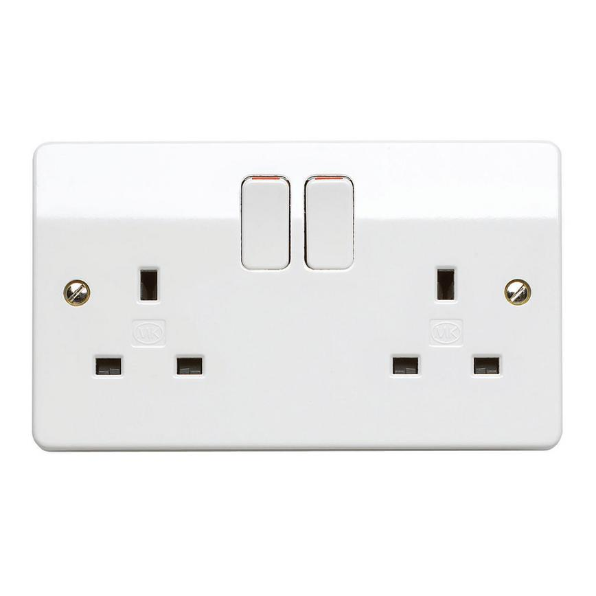MK Electric 2 Gang 13A Raised Slim Gloss White Plug Socket