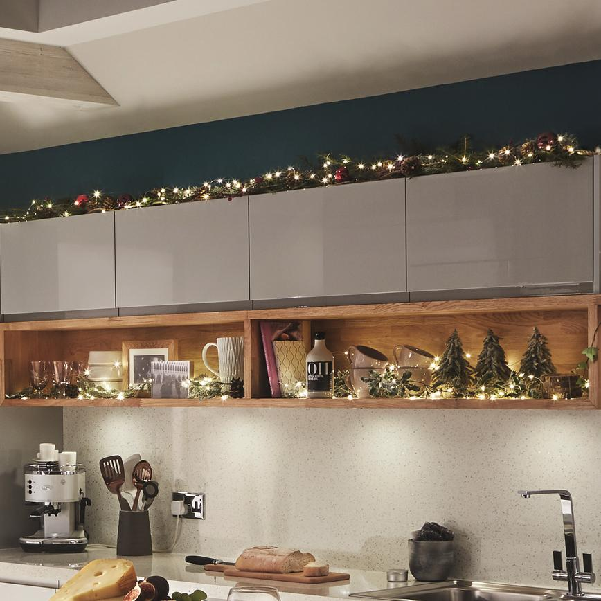 Fairy lights on wall cabinets 2
