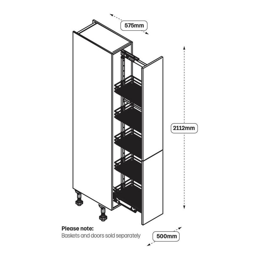 Upgrade 500mm Pull Out Larder Cabinet Line Drawing