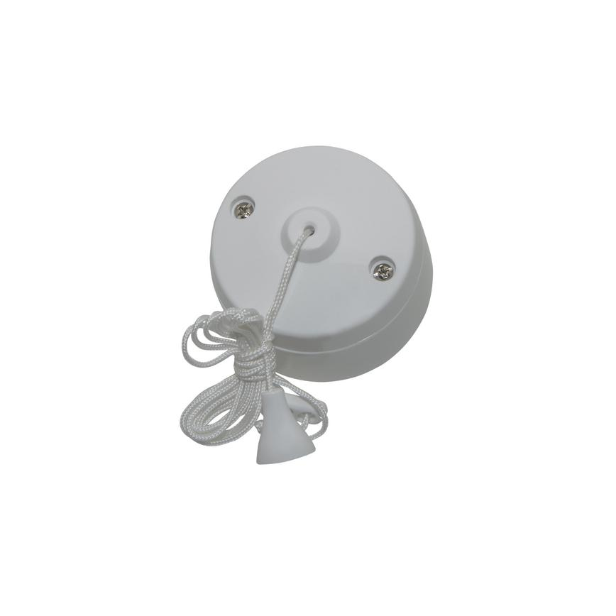 PPSWCL2W Pro Power 2 Way 6A Raised Rounded Matt White Pull Cord Switch