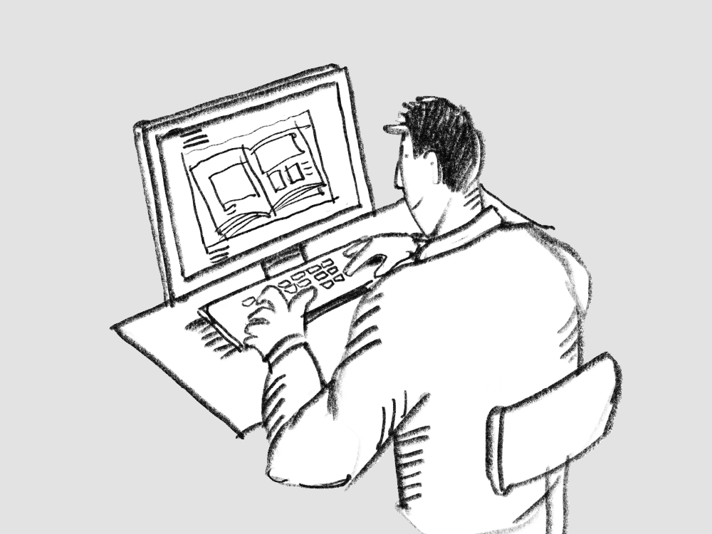 Sketch of a man sitting at a desk on a computer.