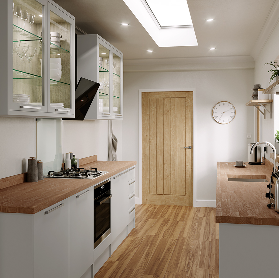 Hockley super matt dove grey galley kitchen