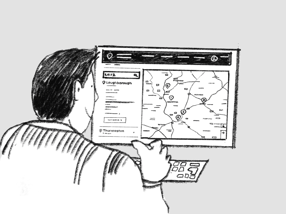 Illustration of a man in front of a computer screen showing a map on the screen