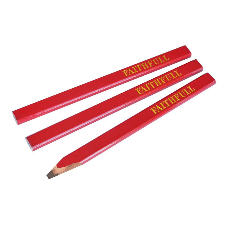 TLS5162 - Faithfull Carpenters Pencils (3) Red - Medium FAICPR