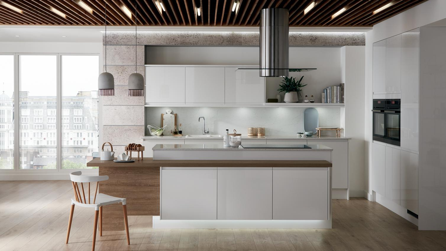 White And Grey Kitchen Modern Colour