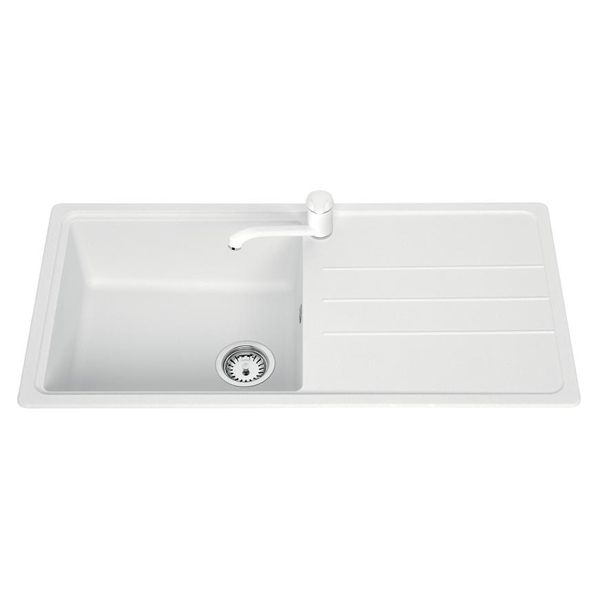 Lamona Single Bowl Inset Composite White Kitchen Sink