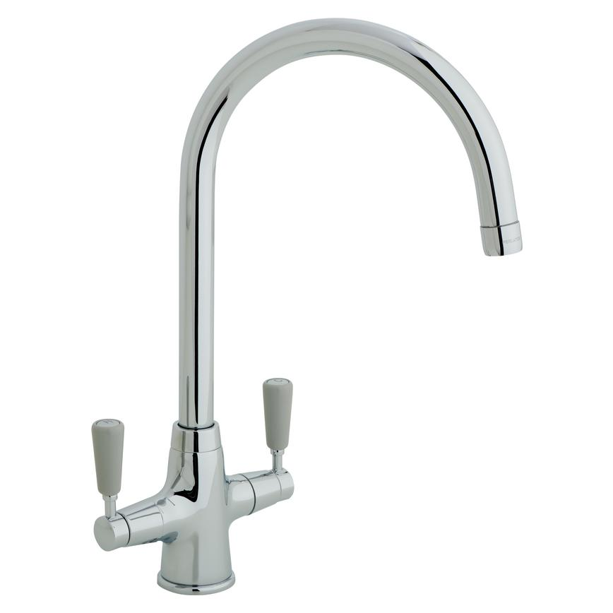 Lamona Chrome Victorian Swan Neck Tap With Grey Lever