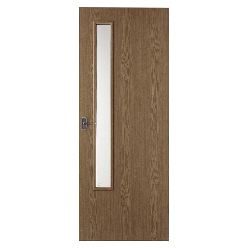 Internal Flush Oak Foil 20g Clear Glazed Fire Door Fd30